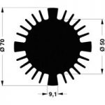 Fischer Elektronik SK 570 15 SA LED Heat Sink 2.27°C/W