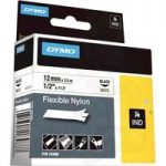 DYMO 18488 Rhino Flexible Nylon Tape 12mm x 3.5m Black on White.