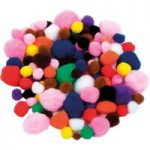 Artstraws Poms, Assorted Colours & Sizes