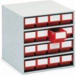 Treston 1640-5 Storage Cabinet 16 Red 400mm Deep Drawers