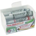Pentel MWL5M/4E Whiteboard Bullet Tip Markers PK4 Assorted with Eraser