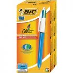 BiC 4 Colour Pen, Blue Barrel – Black, Blue, Red and Green (Pack o…