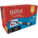 Berol 1984885 Dry Wipe Marker Pen, Chisel Tip, Black Pack of 12