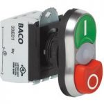 BACO L61QK21H 230V Twin Touch Flush Projecting Push Button Switch