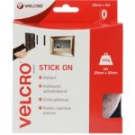 VELCRO® Brand VEL-EC60216 Stick On Tape 20mm x 5m – White