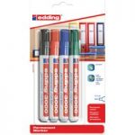 Edding 4-3000-4 Assorted Round Tip Permanent Marker E-3000-4 Pack of 4