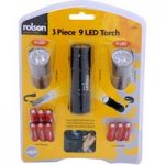 Rolson 61760 3pc 9 LED Aluminium Torch Set