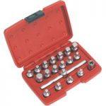 Sealey AK6586 Oil Drain Plug Key Set 19pc – 3/8in.sq Drive