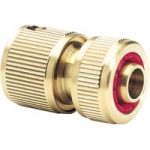 Draper Expert 68433 Brass 1/2″ Hose Connector with Water Stop