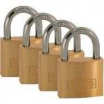 Kasp K12040D4 Brass Padlock – 40 mm – Quad-Pack – Keyed Alike